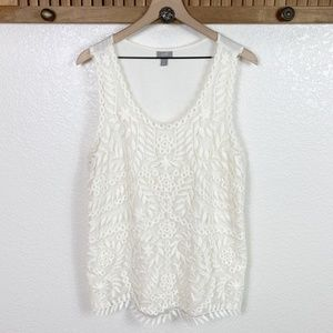 J. Jill Cream Floral Embroidered Overlay Tank Top